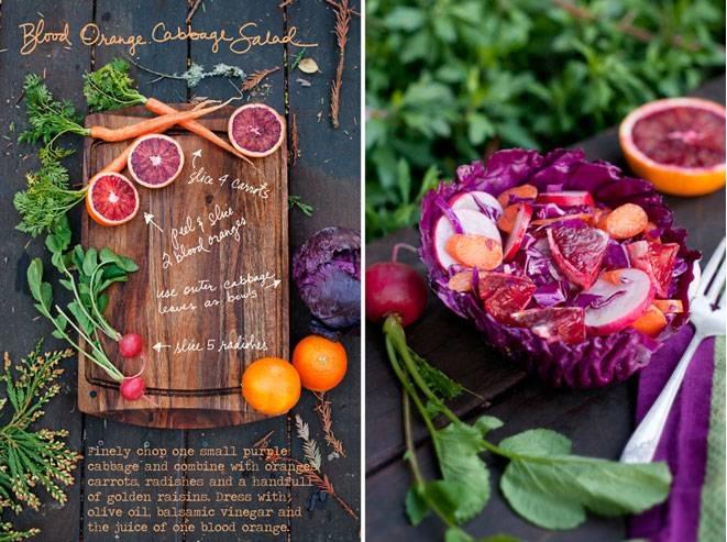 סלט תפוזי דם וכרוב סגול