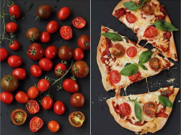 הצילום המגרה מהבלוג של האדונית. כמובן שעבור ילדים מכינים לרוב פיצה חלקה... ללא עגבניות, פטריות ושאר ירקות